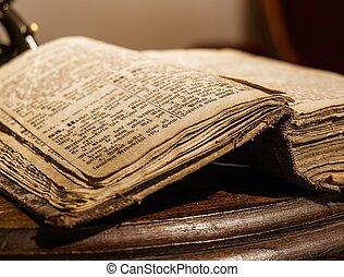 könyv, asztal, fából való, szüret