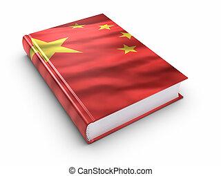 könyv, befedett, noha, kínai lobogó