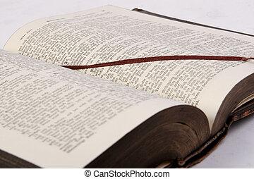 könyv, biblia, öreg, vallás, h