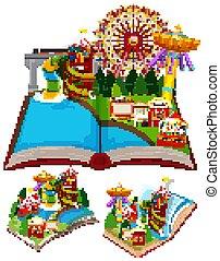 könyv, cirkusz, feláll, színek, váratlanul