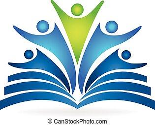 könyv, csapatmunka, nevelési, jel