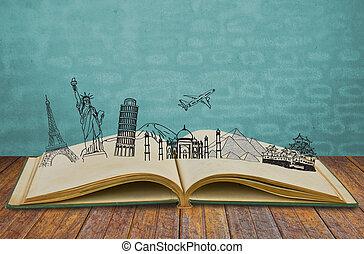 könyv, egypt), olaszország, utazás, franciaország, (japan, ...