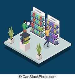könyv, elszigetelt, illustration., diákok, kutató, könyvesbolt, felolvasás, shelves., fogalom, egyetem, háttér, kék, isometric, közönség, vektor, modern, emberek, textbooks., 3, szín, könyvtár