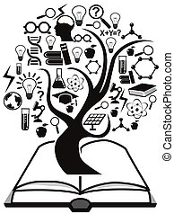 könyv, fa, feláll, oktatás, ikonok
