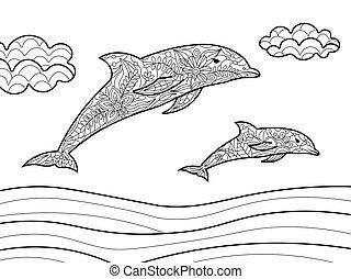 könyv, felnőttek, delfinek, vektor, színezés