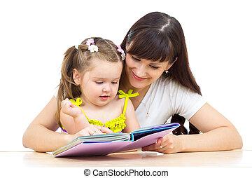 könyv, felolvasás, anyu, kölyök