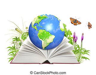 könyv, közül, természet, és, földdel feltölt