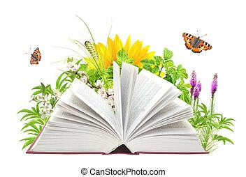 könyv, közül, természet