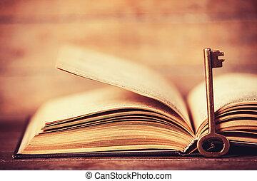könyv, kinyitott, kulcs, retro
