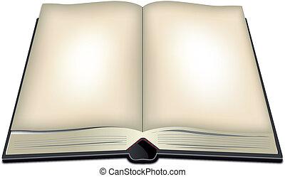 könyv, nyílik, ábra