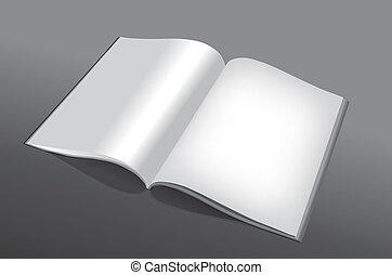 könyv, nyílik, üres