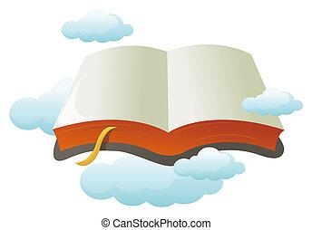 könyv, nyílik, felhő