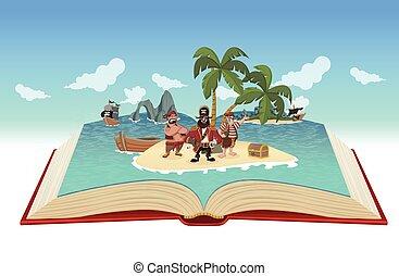 könyv, nyílik, karikatúra, kalózkodik