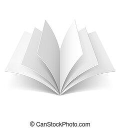 könyv, nyílik, tiszta