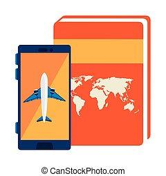 könyv, repülőgép, smartphone, atlasz