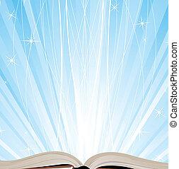 könyv, szikrázó, fény