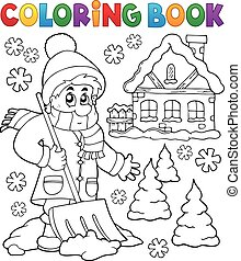 könyv, téma, színezés, 3, tél