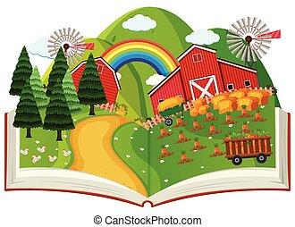 könyv, váratlanul, gazdálkodás, feláll