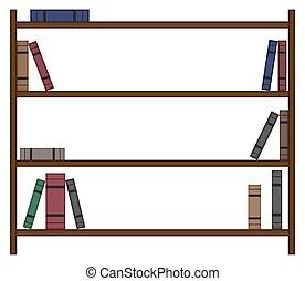 könyvespolc, kevés, előjegyez, üres