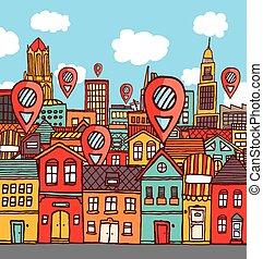 könyvjelző, elhelyezések, felett, színes, város