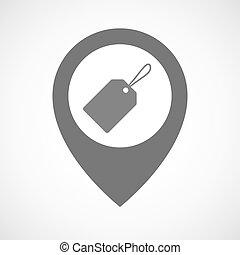 könyvjelző, térkép, elszigetelt, címke