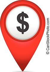 könyvjelző, térkép, jelkép, dollár