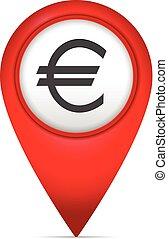 könyvjelző, térkép, jelkép, euro