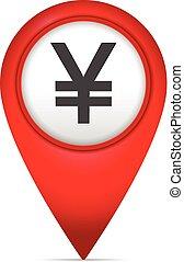 könyvjelző, térkép, jelkép, jen