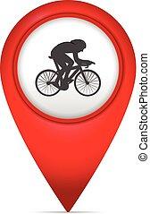 könyvjelző, térkép, jelkép, kerékpározás