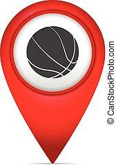könyvjelző, térkép, jelkép, kosárlabda