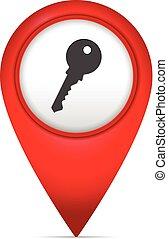 könyvjelző, térkép, jelkép, kulcs