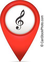 könyvjelző, térkép, jelkép, zene