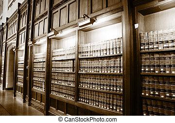 könyvtár, közül, törvény beír