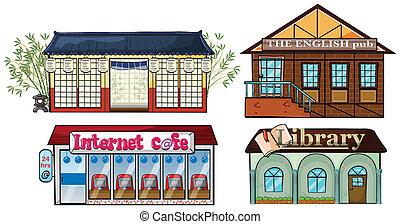 könyvtár, kocsma, kávéház, ázsiai, internet, épület