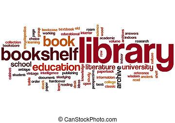 könyvtár, szó, felhő