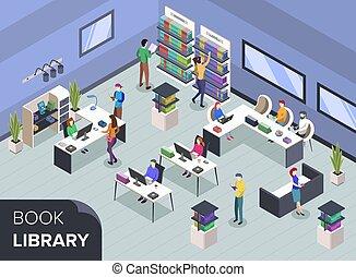 könyvtáros, könyv, illustration., diákok, kutató, könyvesbolt, felolvasás, shelves., fogalom, egyetem, isometric, közönség, desk., vektor, modern, emberek, textbooks., 3, szín, könyvtár