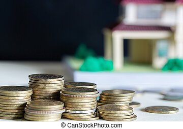 köpa, besparing, trä, pengar, mynter, begrepp, hus, hem, modell, bord