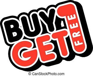 köpa, få, promo, försäljning, gratis, en