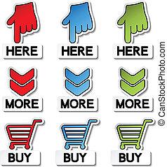 köpa, klistermärken, -, vektor, här, mer, pekare