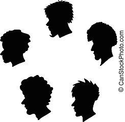 köpfe, satz, silhouette, menschliche