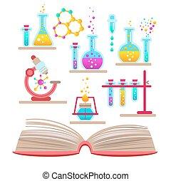 körülbelül, állhatatos, tudomány, chemistry., könyv, nyílik