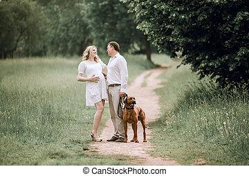 körülbelül, feleség, jár, beszéd, park., valami, férj, boldog