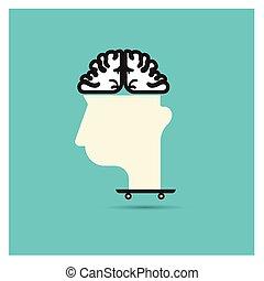 körülbelül, fogalom, ügy, arc, dollár, vektor, agyonüt, fej, gondol, látszik