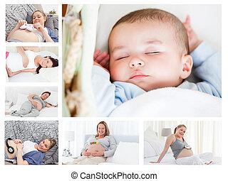 körülvevő, fénykép, nők, csecsemő, terhes