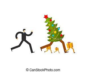 kör, grabb, present., gåva, man, sale., spring, jul, illustration, vektor, år, färsk, jul, box., efter