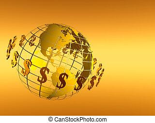 körforgásban levő, rács, dollár, világ