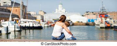 körképszerű, fénykép, közül, anya fiú, élvez, nézet, közül,...