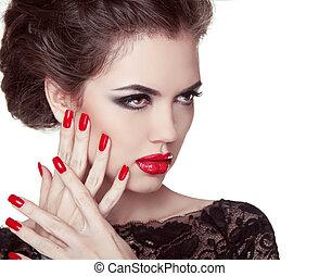 körmök, closeup., körömápolás, és, makeup., retro, nő, noha, piros, lips., csinál, feláll., szépség, hölgy, arc, elszigetelt, white, háttér.