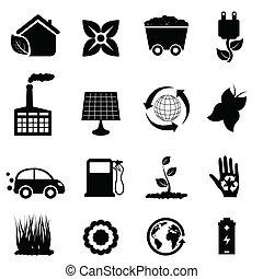 környezet, és, eco, ikonok