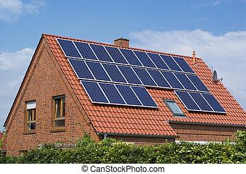 környezet, barátságos, nap-, panels.